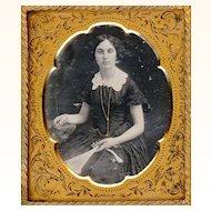 Beautiful Daguerreotype of Lady with Fan, Guard Chain & Watch, c1850
