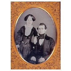 Pre-Civil War Daguerreotype of a Couple, Lady with Watch & Chain at the Waist