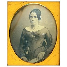 Rare Daguerreotype of Lady wearing Watch Chatelaine by Kertson, New York, c1840s