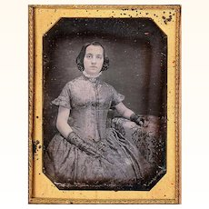 Daguerreotype of Fashionable Girl wearing Guard Chain with Pencil & Watch, c1849