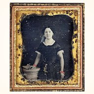 Delightful Hand-coloured Daguerreotype of a Girl with Chatelaine, Full Case, c1850