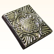 Silver and Leather Needlebook/Needle Book with Original Flannel Insert, Victorian