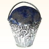 Decorative Silver & Blue Velvet Basket Pin Cushion, mid-19th Century