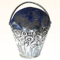 Decorative Silver & Blue Velvet Basket Pin Cushion, mid-19th Century