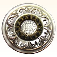 Lovely Button of Cut-out Mother of Pearl, Gilt & Cut Steel, 19th Century