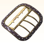 Vintage Brass with Lavender & White Polka dot Enamel Adjustable Buckle