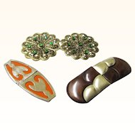 Trio of Vintage Buckles, Two of Art Deco Design