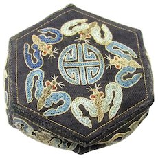 Delightful Embroidered Chinese Fabric Box with Interlocking Flaps & Auspicious Symbols