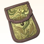 Small Embroidered Chinese Purse for a Belt with Dragon Theme