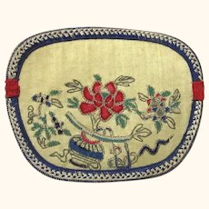 Embroidered Chinese Purse with Floral Themes, Vintage