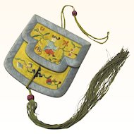 Vintage Chinese Embroidered Double Purse with Tassel