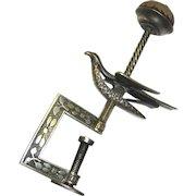 Brass Hemming Bird with Pin Cushion, mid-19th Century