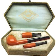 Attractive 'London Fashion' Art Deco Bakelite Pipe Set in Fitted Box