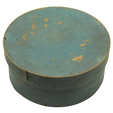 Attractive Blue Circular Pantry Box, 19th Century