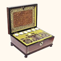 Stylish Mahogany & Brass Needlework Box with Mother of Pearl Tools, Casket-Shape with Bun Feet