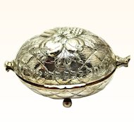 Continental Silver Etrog Holder for Religious Observance, Judaica, c1900