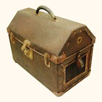 Victorian Pet Carrying Case, Ventilated Reed & Leather, 19th Century