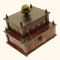 Early Shaker Sewing Box, Folk Art, Two Layers & Pincushion, dated 1836