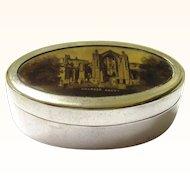 Scottish Souvenir EPNS & Sepia Transfer Print Pill Box, late 19th Century