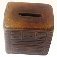 Naïve Glazed Ceramic Money Box/Still Bank in the Form of a Chest of Drawers, c1850
