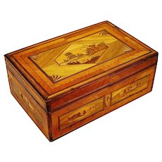 Straw-Work 'Prisoner-of-War' Box, Mulitple Compartments, Regency Period, French