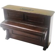 Treen Folk Art Still Bank/Money Box in the Form of an Upright Piano, c1900