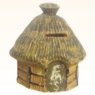 Naïve Papier Mache Collection Money Box in the Form of a Pacific Island Hut, Vintage