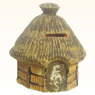Naïve Papier Mache Collection Money Box in the Form of a Pacific Island Hut, Vintage
