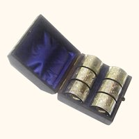 Elegant Boxed Set of Six Silverplate Napkin Rings, c1880