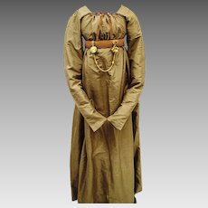 Rare Taupe Regency Silk Gown with Fall-front Bodice, early 19th Century, Jane Austen Era