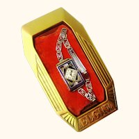 Art Deco Elgin Enamel Ladies Wristwatch, Boxed, with Sapphires & Diamonds, c1930s