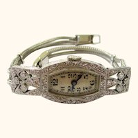 Beautiful Ladies Art Deco Wristwatch, Platinum, Diamonds, White Gold by Gubelin, c1925.