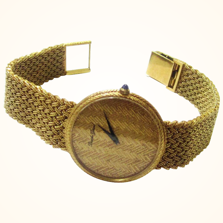 Rare Bueche Girod 18 Carat Gold Watch With Matching Mesh Bracelet And Dial Mid 20th Century