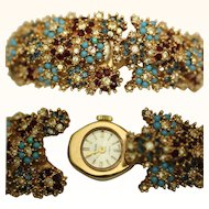Ladies Cocktail Bangle Watch with Rhinestones, Mikuna, mid 20th Century