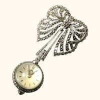 Sparkling Swinging Silver & Marcasite Brooch Ball Watch by Bucherer, early 20th Century