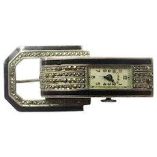 Deco Enamel, Marcasite & Silver Brooch Watch with Lifting Mechanism, Maker Ciner