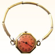 Exquisite Boxed Gold Band & Wristlet Watch with Cranberry Dial, Swiss, early 20th Century