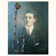Photograph & Silvered Coat Chain with Button for Buttonhole Attachment, late 19th Century