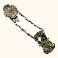 Chatelaine Dress Holder or Skirt Lifter with Enamel Decoration, late 19th Century