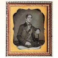Hand-coloured Daguerreotype of Handsome Man wearing Waistcoat, Coat & Watch Chain, c1850