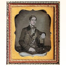Hand-coloured Daguerreotype of Handsome Man wearing Waistcoat, Coat & Watch Chain, c1850