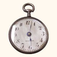 Lovely Mother of Pearl & Silver Doll Watch, early 20th Century