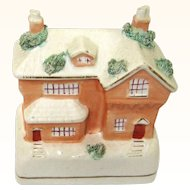 Rare Staffordshire Ceramic Still Bank/Money Box in the Form of a Cottage, c1840