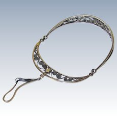 Lovely Silver Filigree Bangle with Wool/Silk Hook Holder, early Victorian