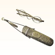Rare Nathaniel Mills Silver Spectacle Chatelaine with Silver Retractable Spectacles, c1855
