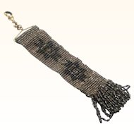 Decorative Steel & Black-beaded Fob with Swivel, late 19th Century
