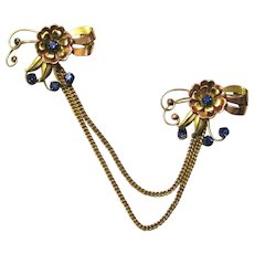 Vintage Floral & Bow Gold Tone Chatelaine Pin Set with Blue Accents, Maker Harry Iskin