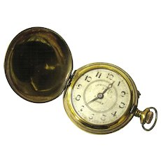 Classic Brass Full Hunter Roskopf Pocket Watch, Swiss-made, early 20th Century