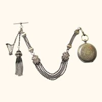 Continental Silver Albertina Watch Chain and Watch with Harp Charm & Tassel