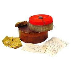 Military Pill-Box Hat in Original Box with Correspondence, Australian, mid 19th Century